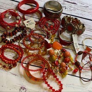 Vintage to now bracelet lot of 27 reds & orange